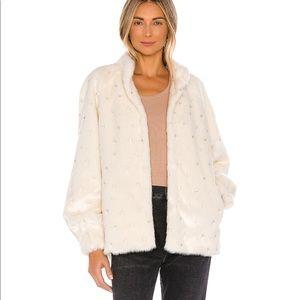 LPA White Furry Coat With Crystal Embellishments
